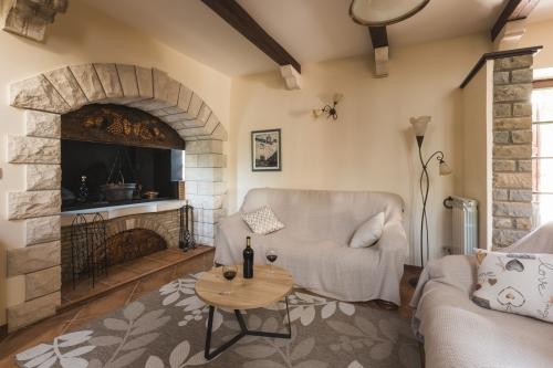 Black wine on a table in the Villa Momiano